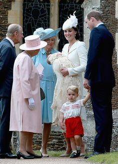 Queen Elizabeth II and Prince Philip as well as the Duchess Cornwall join the Duke and Duchess of Cambridge and their children outside of the church, after the service.