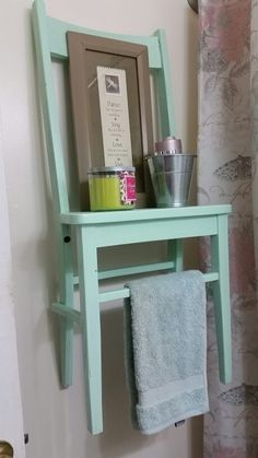Towel rack I repurposed out of old chair