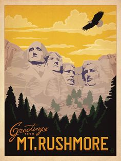 Mt Rushmore National Memorial - After winning international acclaim for creating the Spirit of Nashville Collection, designer and illustrator Joel Anderson set out to create a series of classic travel posters that celebrates the history and charm of America's greatest cities and national parks. He directs a team of talented Nashville-based artists to keep the collection growing.