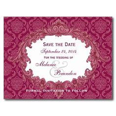 Wine Red Vintage Damask Wedding Save the Date V32 Postcard