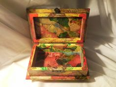 Beautiful and unusual vintage handcrafted wood box.  Enchanted Giftss/Etsy.com