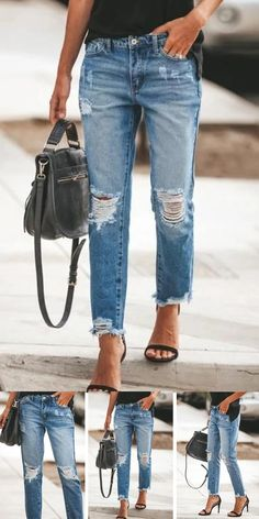 Mode Outfits, Jean Outfits, Fashion Outfits, Boyfriend Jeans, Mom Jeans, Diva Fashion, Womens Fashion, Looks Jeans, Blue Ripped Jeans