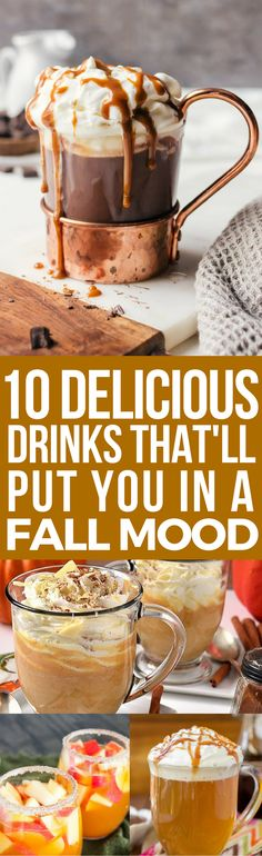 These 10 delicious fall drinks are THE BEST! I'm so glad I found these AWESOME dessert recipes! Now i have some great fall recipes to try this cold season! Definitely pinning!