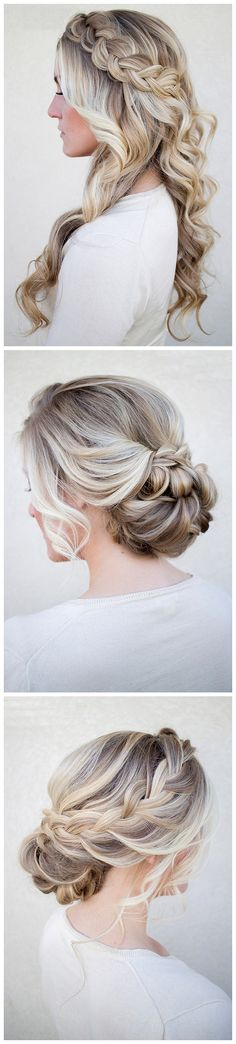 Bridal Hair with Ty.Hermenlisa Hair Extensions---Piano Color ----Light Brown/Ash Blonde(#P18.22)