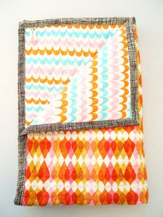 Baby Blanket  Baby Quilt  Bumper Free Crib Bedding  by AuntBucky, $75.00