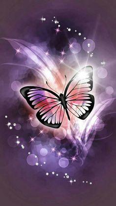 🦋 Papillons 📱 Fond d'écran cellulaire no aesthetic gif Blue Butterfly Wallpaper, Butterfly Painting, Purple Wallpaper, Purple Butterfly, Cute Wallpaper Backgrounds, Butterfly Art, Love Wallpaper, Pretty Wallpapers, Paper Butterflies