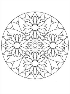 Mandala with flowers | Coloring pages