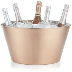 Crate & Barrel Martin Copper Beverage Tub ($100) ❤ liked on Polyvore featuring home, kitchen & dining, bar tools and crate and barrel