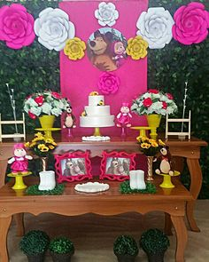 Resultado de imagem para masha and the bear birthday decorations Birthday Dinners, 4th Birthday Parties, Party Decoration, Birthday Decorations, Bear Birthday, 2nd Birthday, Candy Bar Decoracion, Marsha And The Bear, Festa Toy Story