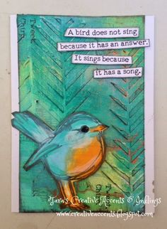 Dina Wakley birds, paints & texture paint.... Tara's Creative Accents & Inklings: A Closer Look at Mixed Media Serendipity Notebook & Cards