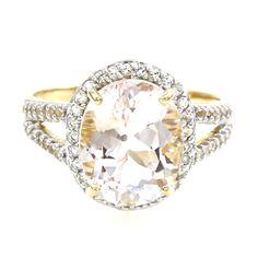 Bague de fiançailles en argent sertie d'une Danburite et de Toapzes blanches - réf 2390GZ - Bijoux de mariage - Juwelo Bijouterie en Ligne