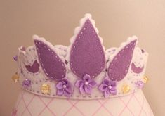 Items similar to White & Pink Felt Special Occasion Crown with Flowers on Etsy