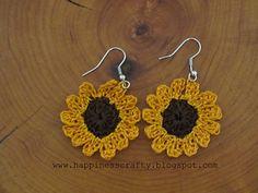 Sunflower Crochet Earrings ~ free pattern