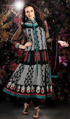 $110.84 Black Faux Georgette Embroidered Anarkali Salwar Suit 26403