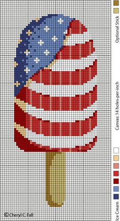 Patriotic Popsicle Cross Stitch