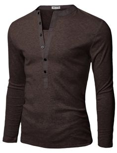 Doublju Mens Henley T-shirts with Long Sleeve BROWN