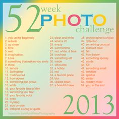52 Week Photo Challenge - Take a different themed photo every week for a year