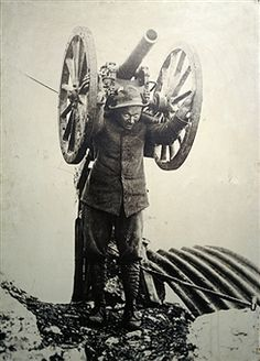 Alpine soldier with a mortar on his back during the First World War, photograph, Museum of the Alpini, Biella, Piedmont. Italy. Biella, Museo Del Territorio Biellese - pin by Paolo Marzioli