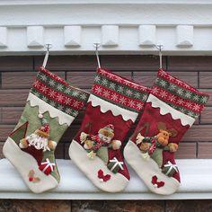 7527b5a9b New Year Christmas Stockings Socks Plaid Santa Claus Candy Gift Bag Xmas  Santa Claus Snowman Tree Hanging Ornament Decoration