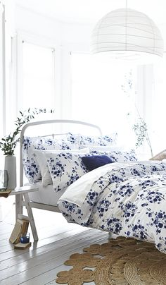 White duvet set with blue floral pattern