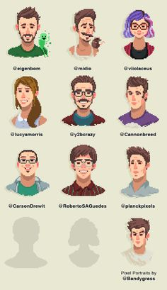, Made some Pixely Portraits of GameDev friends....