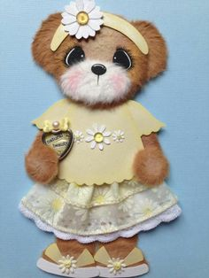Spring Summer DAISY Boutique GIRL TEAR BEAR Paper Piecing ELITE4U 3paperwishes