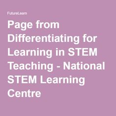 Page from Differentiating for Learning in STEM Teaching - National STEM Learning Centre