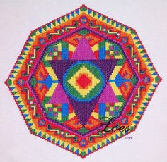 POWER-Mandala cross-stitch pattern based  on DMC 6 strand floss, 7 different colours, 14 st per inch will make it 10 inch diameter by LoesManfredCreations  Digital download pattern available via Etsy $9