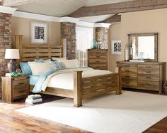 The Montana Bedroom Set is perfect for the nature lover in all of us. Put a little getaway cabin style in your home with the rugged pine wood pieces. Ivory Bedroom Furniture, Wood Bedroom Sets, Rustic Bedroom Design, Discount Bedroom Furniture, Wooden Bedroom, Home Furniture, Bedroom Ideas, Rustic Furniture, Furniture Ideas