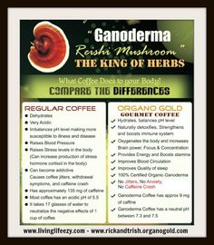 By infusing gourmet coffee and an ever expanding product line with the power of the Ganoderma Lucidum herb, Organo Gold has scientifically developed a healthy alternative to regular coffee that not only tastes great, but makes people feel great. Change Your Coffee - Change Your Life!     Like us on Facebook at https://www.facebook.com/HealthTeaCoffee