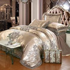 Cheap sheet set, Buy Quality bed set directly from China bedding set Suppliers: Gold silver coffee jacquard luxury bedding set queen/king size stain bed set cotton silk lace duvet cover bed sheet sets Silver Bedding, Satin Bedding, Cotton Bedding Sets, Cotton Duvet, Cotton Silk, Embroidered Bedding, Silver Bedroom, Duvet Bedding, Silk Satin