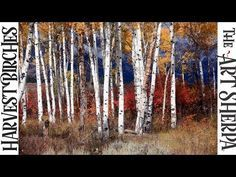 How to paint with Acrylic Harvest Birch Trees - YouTube