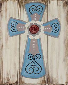 Social Artworking Canvas Painting Design - Rustic Cross