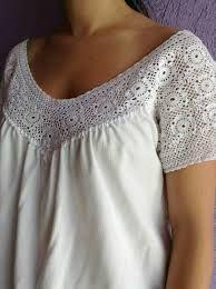 blusas de tela con apliques crochet - Buscar con Google