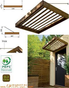 Auvent bois à Prix Canon : Auvent bois porte fênetre contemporain MAR1208