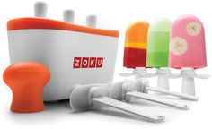 The Zoku Quick Pop™ Maker freezes ice pops in as little as seven minutes right on your countertop without electricity.