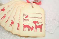 To From Christmas Tags Bird and Deer by seasonaldelights on Etsy, $6.50
