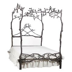 Corsican 43620 White Iron Mature Trees Queen Bed Frame - Overstock Shopping - The Best Prices on Beds