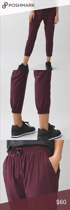 Lululemon Namaskar Crop Bordeaux Drama Size 8 Worn few times in great condition.Four-way stretch swift ultra light fabric is an airy, lightweight fabric woven to wick sweat and provide airflow. lululemon athletica Pants Leggings