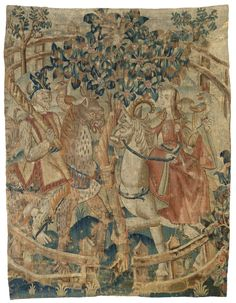 Anonymous | Een wildeman en -vrouw in een besloten tuin (fragment), Anonymous, c. 1500 - c. 1520 | Wandtapijt -fragment (?)- met Hortus Conclusus met wildemannen; binnen een cirkelvormige omheining van open latwerk staan ter weerszijden van een bloeiende boom, twee toegewende ruiters: rechts valkenierster op een eenhoorn, links een man met een knots op een gevlekt langhalzig dier. De mensen zijn blootsvoets, de leden sterk en lang behaard. Zij draagt een wijdmouwige tabbaard van rood fluweel…