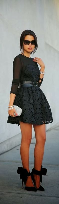 Gorgeous Black Lace Dress With Black High Heels.