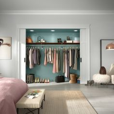 Give your standard closet a custom upgrade with ExpressShelf, our standard wood closet and storage system.   #MasterCloset #HomeOrganization #CustomCloset #InteriorDesign #HomeOrganization Closet Bedroom, Master Bedroom, Master Closet, Arch Interior, Interior Design, Reach In Closet, Architect Magazine, Storage Design, Architect Design