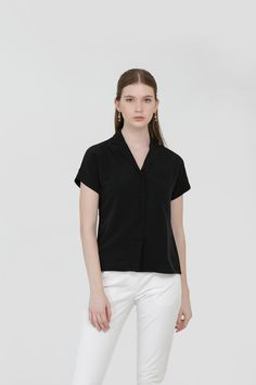Myra Lapel Shirt in Black Affordable Fashion, Spring, Shirts, Clothes, Black, Tops, Women, Outfits, Clothing
