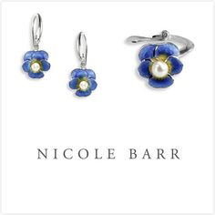 Beautiful Nicole Barr Enamel Pansy Earrings and Ring set with pearl inset. Fine craftsmanship. Excellent addition to your accessories collection.