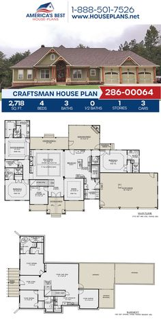Check out this adorable Craftsman home, Plan 286-00064 details 2,718 sq. ft., 4 bedrooms, 3 bathrooms, an in-law suite, two masters, a screened-in porch, a bonus room, a home office, a mudroom, and a study. #craftsman #architecture #houseplans #housedesign #homedesign #homedesigns #architecturalplans #newconstruction #floorplans #dreamhome #dreamhouseplans #abhouseplans #besthouseplans #newhome #newhouse #homesweethome #buildingahome #buildahome #residentialplans #residentialhome Craftsman Style Homes, Craftsman House Plans, Best House Plans, Dream House Plans, Screened In Porch, In Law Suite, Architectural Elements, New Construction, Mudroom