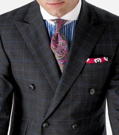 Paul Stuart. Contrast Collar. Double Breasted. Paisley Tie