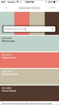 Sherwin Williams- this will be the color of our master bath room. The Waterscape will be on the walls with, khaki and French roast towels and the accent color will be ardent coral with mason jar bathroom set.