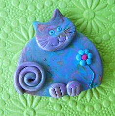 Polymer Clay Colourful Happy Cat with flower pin brooch or magnet via Etsy