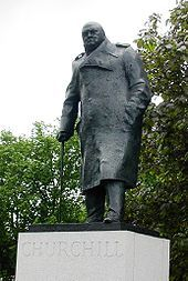 This statue of Churchill by Ivor Roberts-Jones can be found in Parliament Square London.