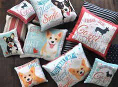 Pembroke Welsh Corgi Dog Pillow Corgi Smiles Melt My by gingereyed